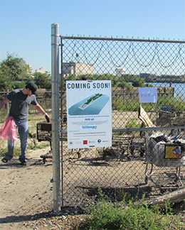 Coming Soon Sign. Pier 68 cleanup